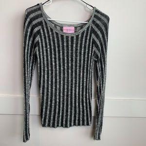 Sweet & Sinful Black & White Striped Long Sleeve